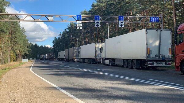 Тормозят движение и большое количество грузовиков, которые проезжают без очереди по платным пропускам. - Sputnik Беларусь
