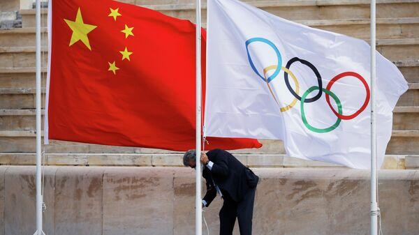 Флаги Китая и Олимпийских игр - Sputnik Беларусь