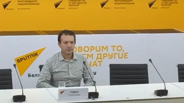 Видеомост в мультимедийном пресс-центре Sputnik Беларусь  - Sputnik Беларусь