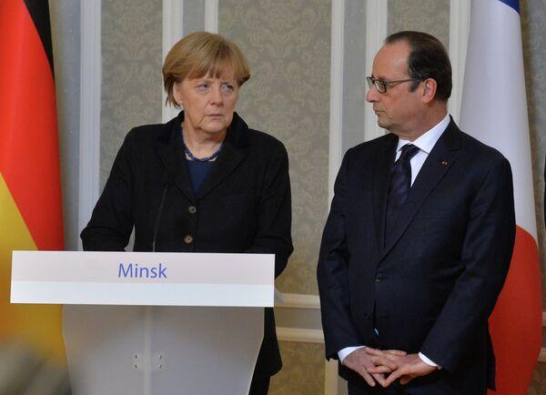 Ангела Меркель и Франсуа Олланд - Sputnik Беларусь