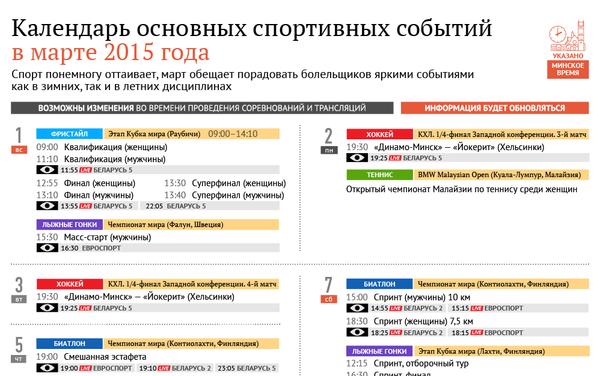 Календарь спорт март 2015 - Sputnik Беларусь