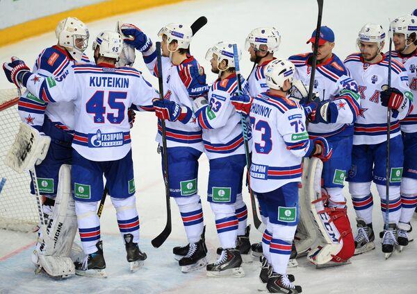 Игроки СКА радуются победе в финальном матче плей-офф Кубка Гагарина Континентальной хоккейной лиги между ХК Ак Барс - Sputnik Беларусь