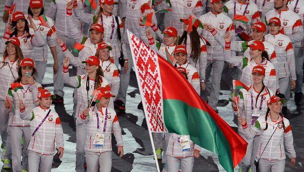 Представители Беларуси во время парада атлетов и членов национальных делегаций на церемонии открытия I Европейских игр в Баку. - Sputnik Беларусь