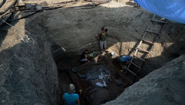 Валанцёры і археолагі падчас раскопак - Sputnik Беларусь