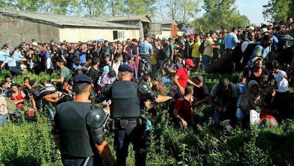 Полицейские пытаются справится с потоком мигрантов на границе Хорватии - Sputnik Беларусь
