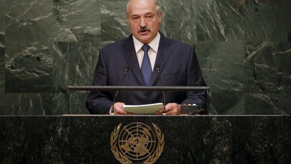 Президент Беларуси Александр Лукашенко на трибуне ООН - Sputnik Беларусь