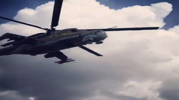СПУТНИК_На боевом дежурстве: патрулирующий российскую авиабазу в Сирии Ми-24 - Sputnik Беларусь