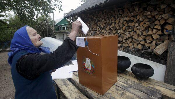 Пожилая женщина голосует во дворе своего дома в селе Даниловичи - Sputnik Беларусь