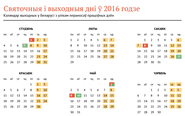 Святочныя і выходныя дні ў 2016 годзе - Sputnik Беларусь