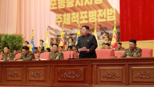 Ким Чен Ын выступает с обращением к представителям корейской народной армии - Sputnik Беларусь