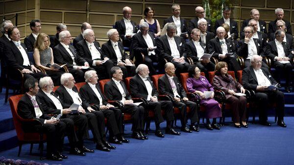 Нобелевские лауреаты в Голубом зале городской Ратуши Стокгольма - Sputnik Беларусь