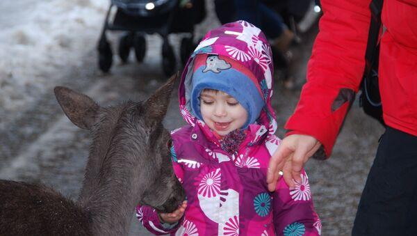 Ребенок кормит олененка - Sputnik Беларусь