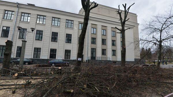 Обрезка деревьев на бульваре Мулявина - Sputnik Беларусь