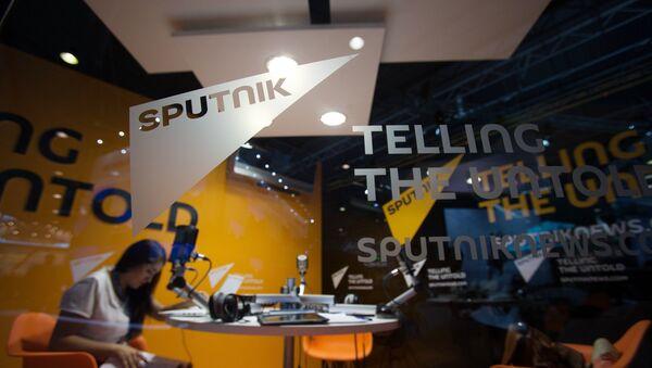 Павільён навінавага агенцтва Sputnik на XIX Пецярбургскім міжнародным эканамічным форуме. - Sputnik Беларусь