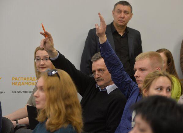 Прэс-сакратары ведамстваў, журналісты на адкрыціі прэс-цэнтра Sputnik - Sputnik Беларусь