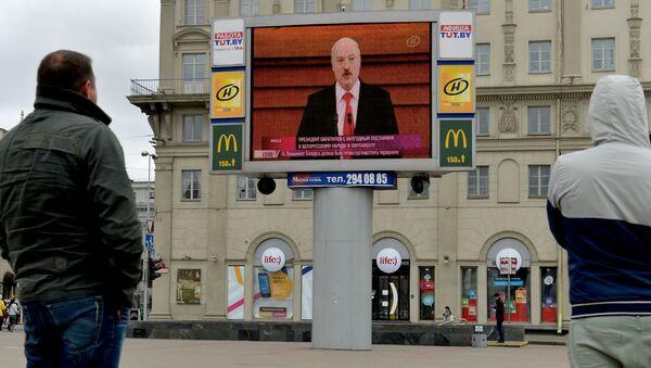 Трансляція паслання на Кастрычніцкай плошчы, архіўнае фота - Sputnik Беларусь