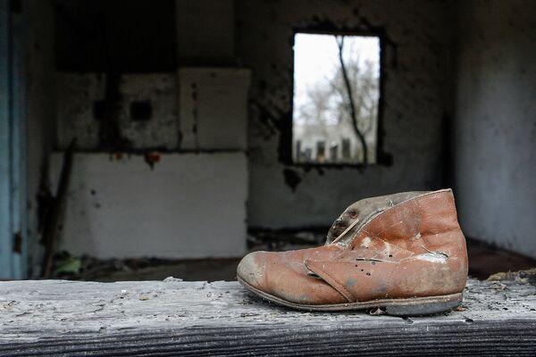 Ботинок на подоконнике дома деревни Ломачи, отселенной в 1990-1991 годах. - Sputnik Беларусь