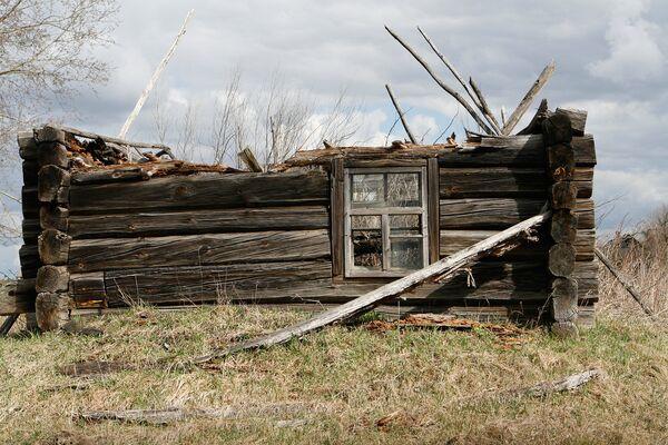 Полуразрушенный дом в отселенной деревне. В этих местах кое-где остались жить люди, отказавшиеся переехать. - Sputnik Беларусь