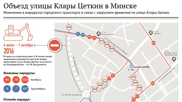 Объезд улицы Клары Цеткин в Минске - Sputnik Беларусь