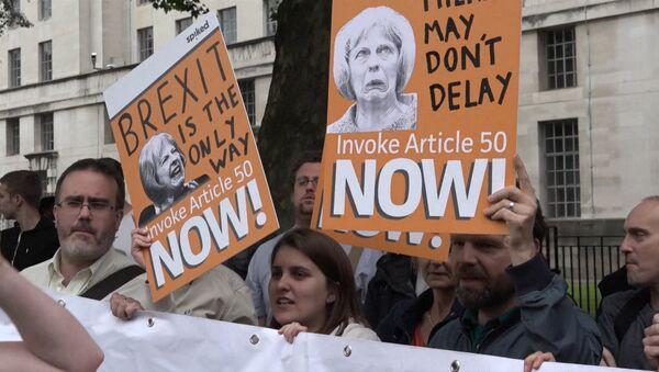СПУТНИК_Мітынг за і супраць Brexit у Лондане ледзь не перарос у бойку - Sputnik Беларусь