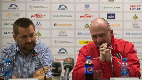 Председатель ФХРБ Игорь Рачковский (слева) и главный тренер сборной Беларуси Дэйв Льюис - Sputnik Беларусь