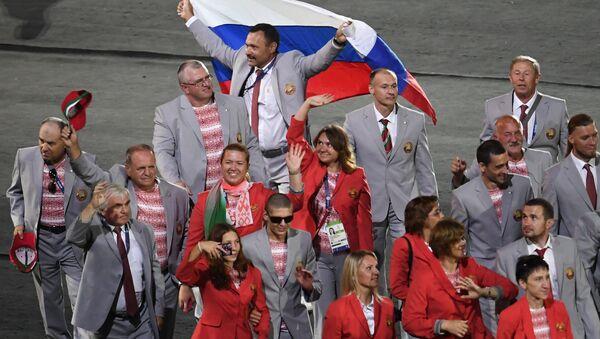 Расійскі сцяг на адкрыцці ХV летніх Паралімпійскіх гульняў 2016 у Рыа-дэ-Жанейра - Sputnik Беларусь