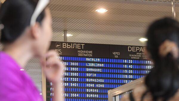 Пасажыры ў аэрапорце Шарамеццева. - Sputnik Беларусь