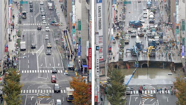 Комбинированное фото: после аварии в Фукуоке и после ремонта - Sputnik Беларусь