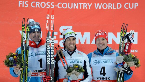 Расійскі лыжнік Сяргей Усцюгаў (першы злева) - Sputnik Беларусь