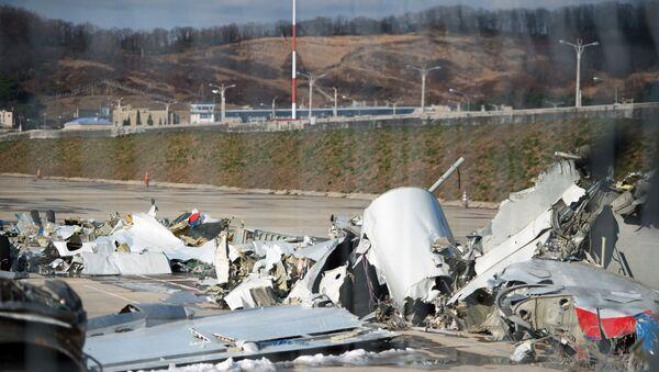 Обломки упавшего самолета Минобороны РФ Ту-154, собранные у берегов Сочи - Sputnik Беларусь