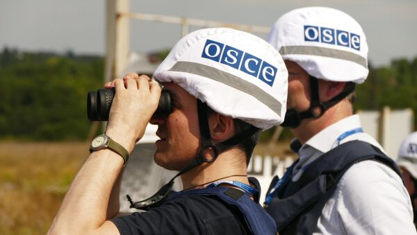 Наблюдатели СММ ОБСЕ в Донбассе, архивное фото - Sputnik Беларусь