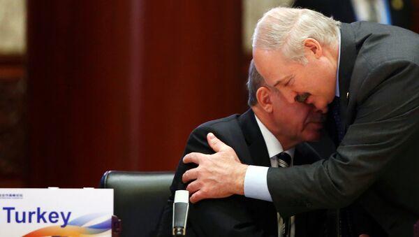 Трогательный момент встречи белорусского лидера Александр Лукашенко с турецким коллегой - президентом Турции Реджепом Тайипом Эрдоганом - Sputnik Беларусь