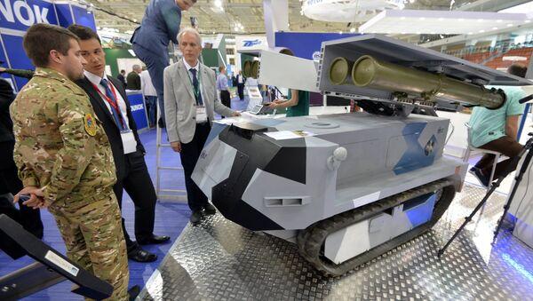 На выставке MILEX представили самоходный противотанковый роботизированный комплекс Богомол - Sputnik Беларусь