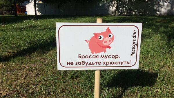 ЗнакКідаючы смецце, не забудзься рохкнуць! у Гродне - Sputnik Беларусь