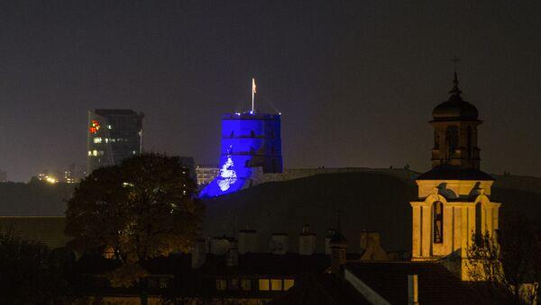 Вид на башню Гедимина ночью, архивное фото - Sputnik Беларусь