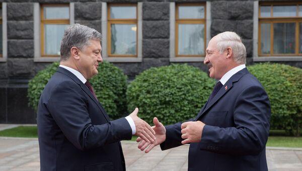 Президент Беларуси Александр Лукашенко с президентом Украины Петром Порошенко - Sputnik Беларусь