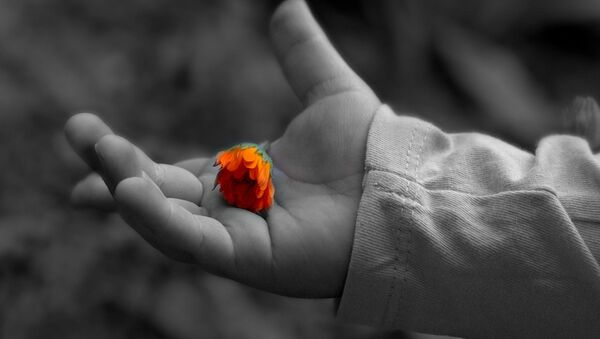 Цветок на детской ладони - Sputnik Беларусь