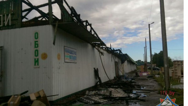Пожар на рынке в Лепеле 14 августа 2017 года - Sputnik Беларусь
