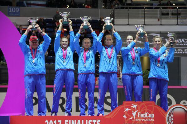Сборная Беларуси во время церемонии награждения победителей Кубка Федерации - Sputnik Беларусь