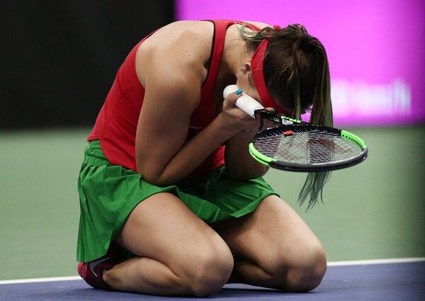 Арина Соболенко (Беларусь) после победы в одиночной встрече против Слоан Стивенс (США) - Sputnik Беларусь