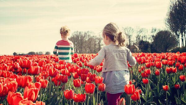 Две девочки в тюльпанах, архивное фото - Sputnik Беларусь