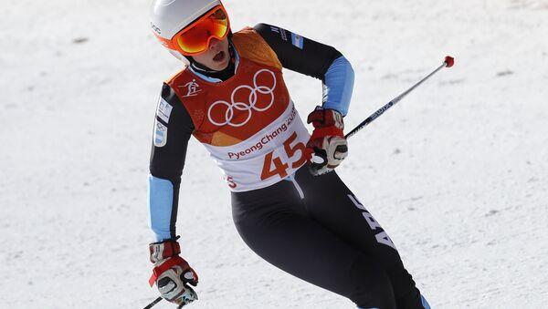 Белорусская горнолыжница Мария Шканова на соревнованиях в Пхенчхане - Sputnik Беларусь