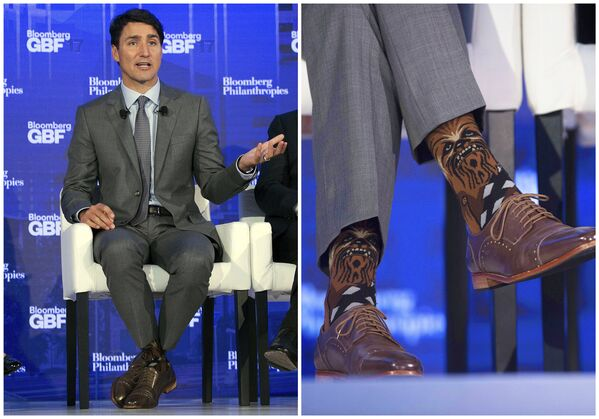 Чубака на шкарпэтках Трудо з'явіўся падчас Бізнес-форуму Bloomberg у Нью-Ёрку - Sputnik Беларусь