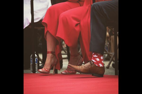 У патрыятычных шкарпэтках ён з'явіўся на святкаванні Дня Канады, 1 ліпеня 2017 года. - Sputnik Беларусь