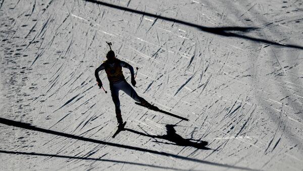 Дарья Домрачева на дистанции масс-старта среди женщин на чемпионате мира по биатлону в финском Контиолахти - Sputnik Беларусь