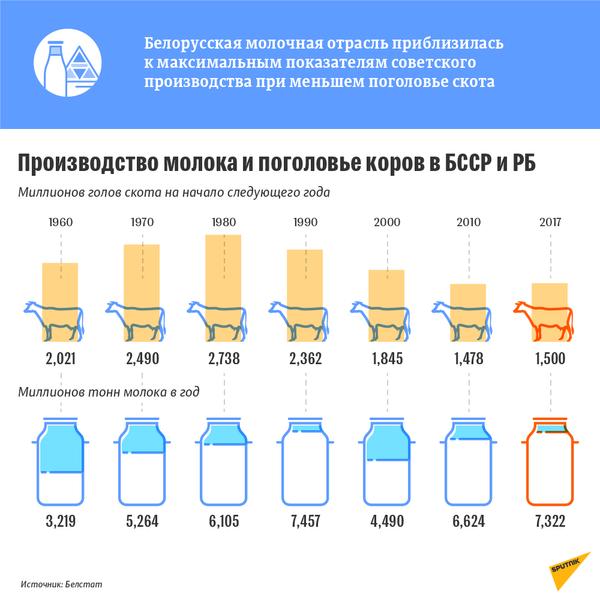 Производство молока и поголовье коров в БССР и РБ - Sputnik Беларусь