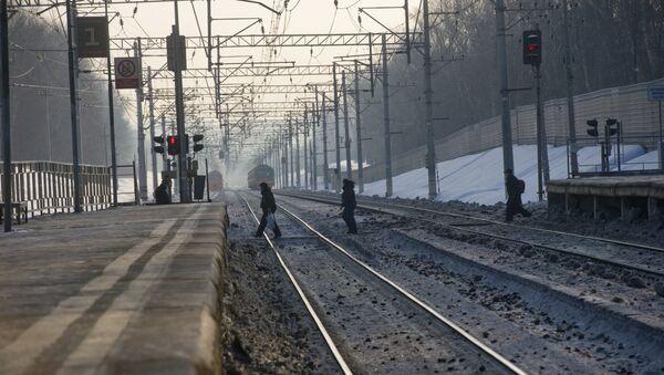 Железнодорожный пешеходный переход на станции Салтыковская - Sputnik Беларусь