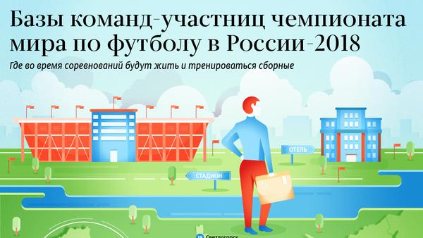 Тренировочные базы участников ЧМ-2018 по футболу в России – инфографика на sputnik.by - Sputnik Беларусь