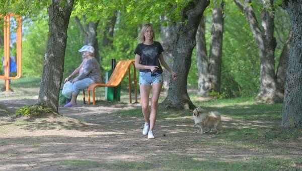 Дзяўчына выгульвае сабаку ў парку - Sputnik Беларусь