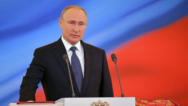 Абраны прэзідэнт РФ Уладзімір Пуцін падчас цырымоніі інаўгурацыі ў Крамлі - Sputnik Беларусь